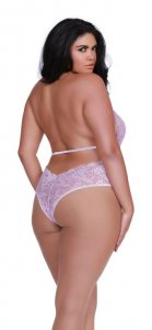 LACE & PATTERNED MESH COLLARED TEDDY LILAC QUEEN