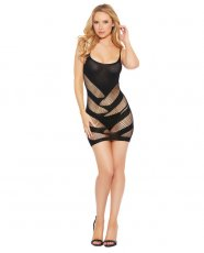 Spaghetti Strap Opaque & Patterned Strappy Cut Out Chemise Black O/S
