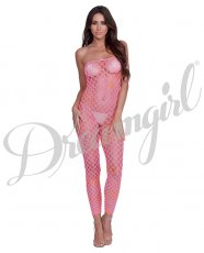 Simply Sexy Convertible Diamond Pattern Open Crotch Bodystocking - Doubles as Crop Top- Rnbw- OS