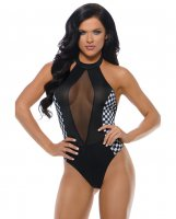 Play Revved Up Teddy w/Halter Tie & Hot Bod Detail Black/White S/M