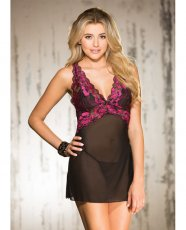 Two Tone Stretch Lace & Mesh Chemise w/Lined Cups, Adjustable Straps & G-String Black/Hot Pink SM