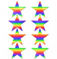 PASTEASE BODY MINIS 8 MINI RAINBOW STARS NIPPLE & BODY PASTIES