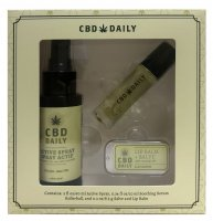 CBD DAILY HOLIDAY GIFT SET INCLUDES 1EA. SALVE/SERUM 10ML /ACTIVE SPRAY