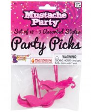 Mustache Party Party Picks - Pink