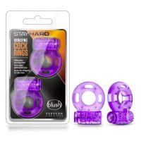 STAY HARD VIBRATING COCK RINGS 2 PACK PURPLE
