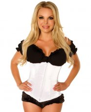 Underbust Corset w/Zip Up Front White 5X