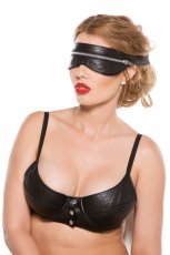 ALLURE BLACK FAUX LEATHER ZIP MASK O/S