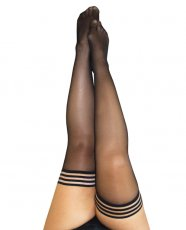Kix'ies Taylor Silky Sheer Thigh High Black D