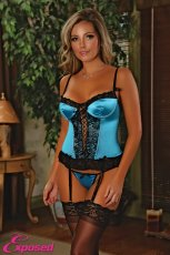 CORSET & G-STRING BLUE 2XL