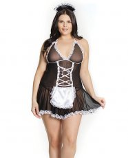 Fashion French Maid Chemise w/Attached Apron & Headpiece Black/White QN