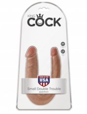 KING COCK U SHAPED SMALL DOUBLE TROUBLE TAN