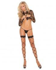 Footless Net Thigh High w/Lace Trim Black O/S