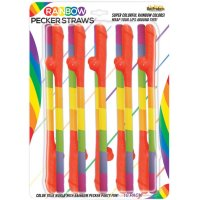 RAINBOW PECKER STRAWS 10PK