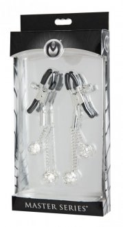 MASTER SERIES RHINESTONE NIPPLE CLAMPS SQUARE CLEAR