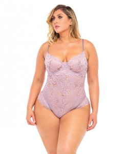 Page Unlined Lace Teddy w/Underwire Mauve 2X