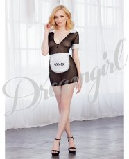 Made Me Dirty Sheer Chemise w/Apron Black/White O/S