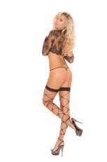 FOOTLESS NET THIGH HIGH W/ LACE