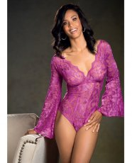 Stretch Lace Bodysuit w/Long Bell Sleeves Magenta LG