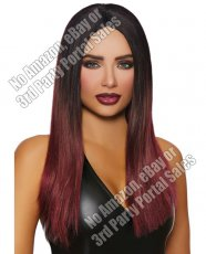 Long Straight Ombre Wig - Black/Burgundy