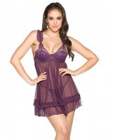 Sheer Babydoll w/G-String White Plum MD