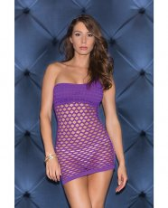 One Shoulder Solid & Diamond Patterned Seamless Dress Purple O/S