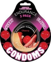 ENDURANCE FLAVORED 3PK CONDOMS- CHERRY