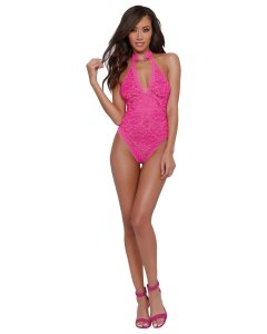 STRETCH LACE HALTER TEDDY HOT PINK O/S