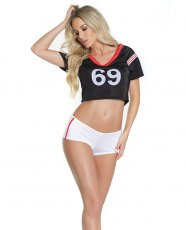 Fashion Football Crop Top & Booty Shorts Black/White O/S