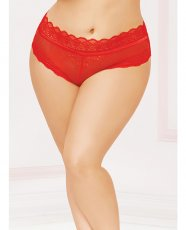 High Waisted Panty w/Lace Up Back Red 3X/4X