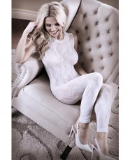 Sheer Fantasy Lace Edge Floral Bodystocking w/Keyhole Back Detail White O/S