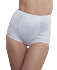 Rago Shapewear Rear Shaper Panty Brief Light Shaping w/Removable Contour Pads White MD