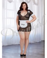 Made Me Dirty Sheer Chemise w/Apron Black/White QN