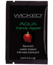 Wicked Sensual Care Aqua Waterbased Lubricant - .1 oz Candy Apple