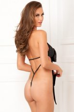 SATIN BOW TEDDY BLACK M/L (NET)