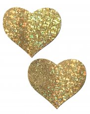 PASTEASE GOLD GLITTER HEART NIPPLE PASTIES