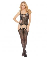Printed Cami Top w/Attached Thigh High Bodystocking Black O/S