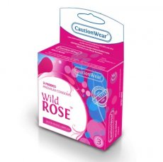 WILD ROSE RIBBED LUBRICATED CONDOMS 3PK