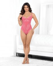 Classic Lace & Mesh Teddy w/Double Straps & Underwire Cups Coral Pink XL