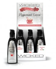 Wicked Sensual Care Aqua Waterbased Lubricant Display - 2 oz Peppermint Cocoa Display of 12