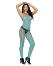 Crochet Pothole Bodystocking w/Open Crotch Turquoise O/S