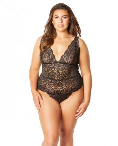 Soft Edged Galloon Lace Teddy w/Adjustable Straps & Snaps Crotch Black 1X