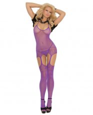 Halter Neck Suspender Bodystocking w/Cut Out Design Purple O/S
