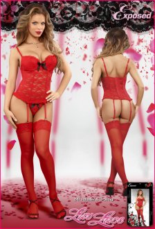 BUSTIER & G-STRING RED L/XL (LUV LACE)