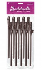 BACHELORETTE CHOCOLATE DICKY SIPPING STRAWS 10/PK