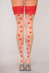 LACE TOP HEART HOLD UPS O/S