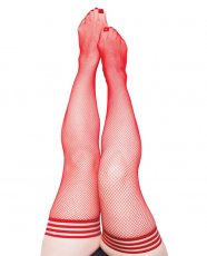 Kix'ies Sandra Fishnet Stay Up Thigh Highs Red D