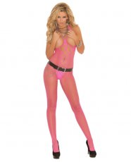 Diamond Net Bodystocking w/Open Bust & Crotch Neon Pink O/S