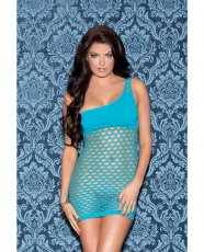 One Shoulder Solid & Diamond Patterned Seamless Dress Teal O/S