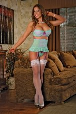BRA RETRO GARTER & G STRING AQUA MEDIUM