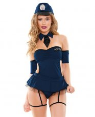 Play Miss Demeanor Police 4 Pc Set w/Hat, Collar, Apron Dress w/Gartrs & Panty Black S/M